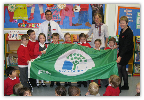 Pupils with Green Flag